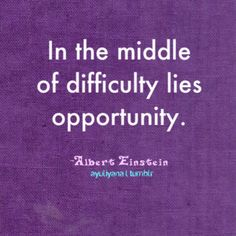 In the middle of difficulty lies opportunity.  -- Albert Einstein