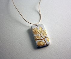 Hand Painted Clay Leaf Pendant Necklace by dreamstakingflight