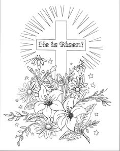 Today is Easter Sunday, the day Jesus rose from the grave, that we might have new life in Him! What a wonderful reason Christians have to celebrate. Whether you spend it at a sunrise worship servic… Easter Coloring Pages Printable, Easter Coloring Sheets, Easter Colouring, Bible Coloring Pages, Coloring For Kids, Adult Coloring, Coloring Books, Coloring Stuff, Easter Printables