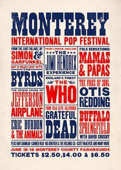 Monterey Pop Festival concert poster Monterey Pop by TheIndoorType