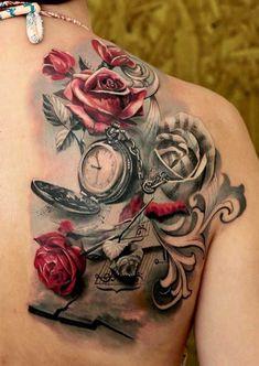 Beautiful Compass And Flower Tattoo #backsidetattooswomen