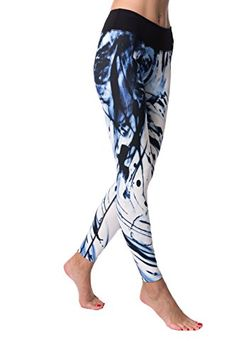 7da0e9af63 Guely Ray CALYPSO Women's Blue Ink Printed Yoga Pants With Hidden Pocket,  Active Leggings Ankle Length for Workout Sports Running Jogging Walking,  Girls & ...