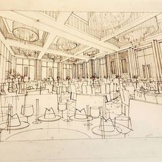Next #handrendering Perspective Sketch, Interior Sketch, Sketch Design, Paris Skyline, Architecture Design, Explore, Photo And Video, Drawings, Thai Restaurant
