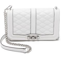 Rebecca Minkoff Love Cross Body Bag (410 CAD) ❤ liked on Polyvore featuring bags, handbags, shoulder bags, white, quilted leather handbags, white shoulder bag, leather shoulder bag, quilted leather crossbody and crossbody purse