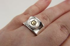 Sterling Silver Bullet Ring - Silver Bullet Jewelry - Sterling Silver Ring - Rings For Men - Gifts For Him - 9mm Bullet - Statement Ring  #southern #sassy #southern #country