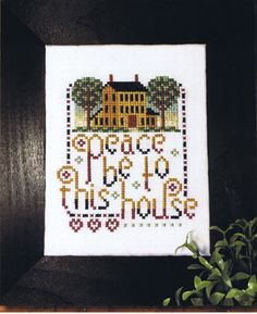 """""""Peace be to this house,"""" is a design by Kit & Bixby. Their work features many architectural exteriors, but I love the message of this design, the gradient font, and the pointillism border. Available from Stoney Creek: https://store.stoneycreek.com/kit--bixby---peace-be-to-this-house-p25006.aspx"""