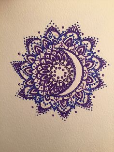Made by Becky Blanco. Crescent Moon mandala
