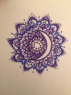 Made by Becky Blanco. Crescent Moon mandala