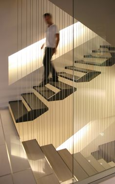 Floating Stairs By Kuadra Studio, Italy Stair Handrail, Staircase Railings, Staircase Design, Stairways, Stair Design, Spiral Staircases, Stairs Architecture, Interior Architecture, Escalier Design
