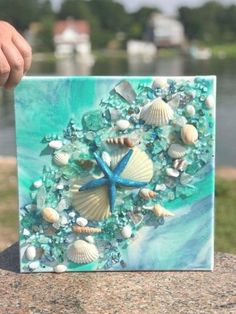 resin geode canvas with beach glass and shells - maritimes - craft