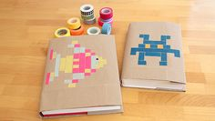 Help your kids make their books back-to-school ready with Close Francis :: Modern Parents Messy Kids 's simple washi tape book cover technique inspired by Perler Bead patterns. Space Invaders, Homemade Books, Washi Tape Crafts, Diy Tumblr, Diy School Supplies, Book Cover Design, Masking Tape, Craft Tutorials, Bunt