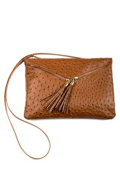 Faux-Ostrich Cross-Body Bag