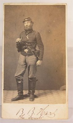 "c1861 CIVIL WAR CDV PHOTO OF ""THE SCOUT OF McDOWELL'S DIVISION"" BENJAMIN  B HART"