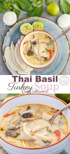Inauthentic Thai Basil Turkey Soup using Leftovers! Whether you have leftover turkey from Easter, Christmas, or Thanksgiving, don't let them go to waste! Get creative and visit different cuisines! This soup is gluten-free and links to a vegan and vegetarian version! I used homemade turkey broth, but honestly, store-bought broth works, too! #leftovers #2meals1recipe #turkey #soup #healthy #healthyfood #glutenfree #recipe #ThaiFood