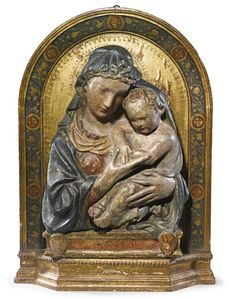 View An Italian gilt and painted stucco relief of the Madonna and Child By Lorenzo Ghiberti; Access more artwork lots and estimated & realized auction prices on MutualArt. Italian Renaissance, Renaissance Art, Mother Of Christ, Blessed Mother, Mother Mary, Lorenzo Ghiberti, Woodcut Art, Sculptures, Lion Sculpture