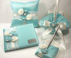 Personalized Guest Book/Pen/Ring bearer pillow/Flower girl basket Tiffany Blue Wedding