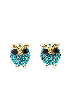 Teal Crystal Owl Earrings