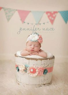 Coral, pink and aqua headband AND maternity sash or infant wrap SET with lace…
