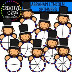 Abraham Lincoln Spinners {Creative Clips Clipart} This 18-image set is perfect for creating fun spinners to go with games or practice skills!