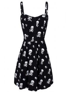 "Women's ""Skull and Crossbones"" Knit Flair Dress by Jawbreaker (Black) #InkedShop #skull #dress #style #fashion"