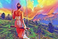 Egy régi legenda szerint egyszer mindenki találkozik a Jóistennel! Graphic Illustration, Graphic Art, Two Piece Skirt Set, Purple, Nature, Painting, Naturaleza, Painting Art, Purple Stuff