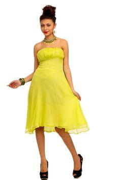 Adam n' eve Lemon Yellow Chiffon evening Dress