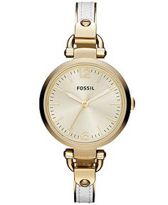 Fossil Watch, Women's Georgia White Leather and Gold Tone Stainless Steel Bangle Bracelet 32mm ES3260 - All Watches - Jewelry & Watches - Macy's