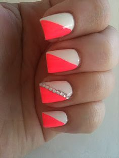 neon split nails w/ dots. i wish i was taht creative.. and patient. .and talented