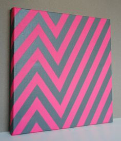 Chevron Painted Canvas.. Oh I love this and the colors definitely have to do this