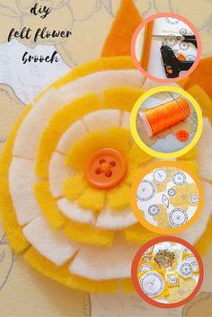 Felt Pattern & Tutorial Free to download Felt Diy, Felt Crafts, Craft Tutorials, Sewing Tutorials, Felt Patterns, Flower Brooch, Felt Flowers, My Design, Projects