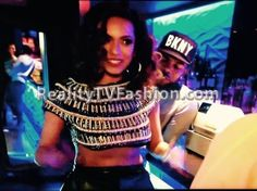 "Erica Mena's Zara Gold & Black Embellished Crop Top on ""Love & Hip Hop New York"""