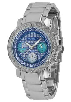 Price:$106.00 #watches Akribos XXIV AK440BU, This handsome timepiece from Akribos XXIV showcases stainless steel construction with 12 genuine diamonds on a pave pattern bezel and a silver pave dial. The women's watch offers three mother of pearl subdials and Roman numeral hour markers.