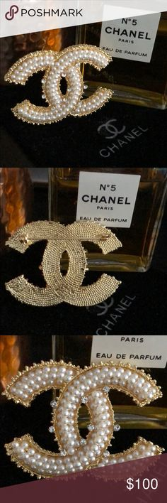 """NEW CC Chanel pearl crystal gold brooch NEW comes with pouch. Perfume not included. Price reflects authenticity. 2""""x 1.5"""" in. Gorgeous and of excellent quality/heavy not made of cheap plastic metals. High quality faux pearls and Swarovski crystals. OFFERS WELCOME NO TRADES CHANEL Accessories"""