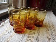 Vintage Set of Libbey Amber Swirl Juice Glasses.  Nice set of six juice glasses…