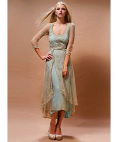 Downton Abbey Tea Party Gown in Sage/Turquoise by Nataya