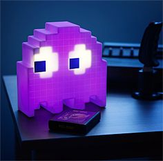 "Shaped like the iconic Pac-Man ghost, this 8"" tall lamp has two different modes. The ""On"" mode makes the light glide through 16 (count 'em!) different colors. The ""Party"" mode makes the color change sound-activated."