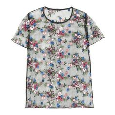 Kurzarm-T-Shirt Little Flowers ❤ liked on Polyvore featuring tops, t-shirts, flower top and flower t shirt
