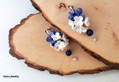 Blue Earrings,Flower Earrings,Berry Earrings,Blue Jewelry,Flower Jewelry,Dangle Earrings,Berries,Gift for Her,Blueberry,White Blue Earrings
