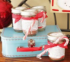 color love - aqua, red, and white, with red polka dots ribbon, hot cocoa, and mason jars, all part of a hot cocoa party at celebrations at home blog