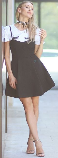 #fall #trending #street #outfits | Graphic Tee + LBD