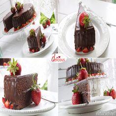 Sjokoladekake med sjokolade og nougatfyll Deserts, Favorite Recipes, Baking, Cake, Food, Cook, Bakken, Kuchen, Essen