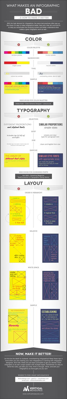 This is an infographic seperated by categories. I find it funny how it's talking about bad infographic design