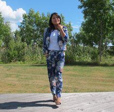 blue flower suit