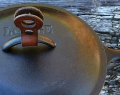 Handmade Leather Pot and Pan Lid Lift, Pot Holder
