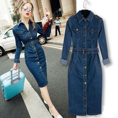 2016 Women Dress Vestidos Long Sleeve Single Breasted Slim Waist Denim Long Dress Vintage Turn Down Collar Oversize Casual Dress