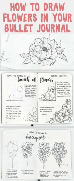 How to draw flowers in your bullet journal- learn to decorate your bullet journal for spring with these amazing 'how-to-draw' tutorials provided from Liz over at @bonjournal_ on Instagram. Learn how to simplify the most complicated flower drawings.