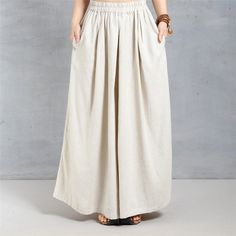 Women summer loose casual linen wide leg pants .so comfy and beauty.would LOVE to have a pants like this to wear this summer!!! I love the shape of this & the color!!! find here   www.buuykud.com