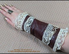 Steampunk Arm Bracer BURGUNDY LEATHER Wrist Corset Neo Victorian Vintage Lace Ivory Textile Cuff SteamPunK Clothing by SweetDarknessDesigns