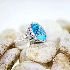 """#gregorysjoaillier #kurfürstendamm #Berlin #jewelrymaking #jewelry #just4u #diamonds #topas#handmade #designs #The magic of the blue Topas 26.64ct. water…"""