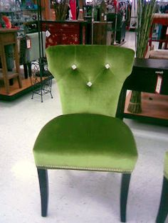 Green Velvet Chair With Tufted RHINESTONES Instead Of Buttons Love Very Glam